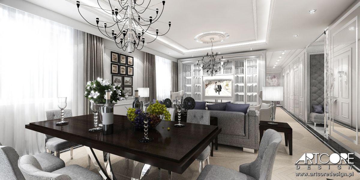 projekt i aranżacja ekskluzywnego wnetrza jadalni luksusowego wnetrza