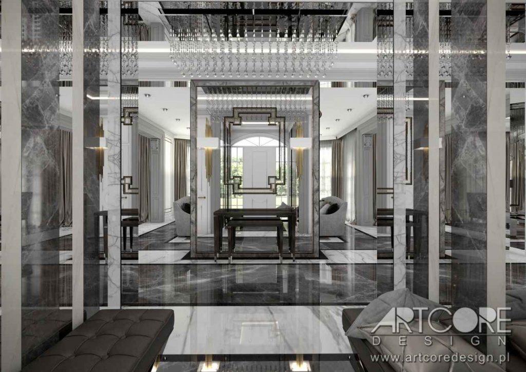 hol luksusowej rezydencji projekt wnętrza art deco