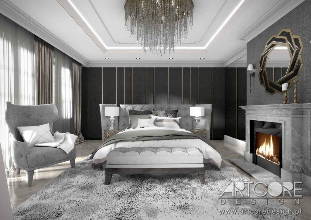 projekt wnętrza luksusowa sypialnia z kominkiem art deco