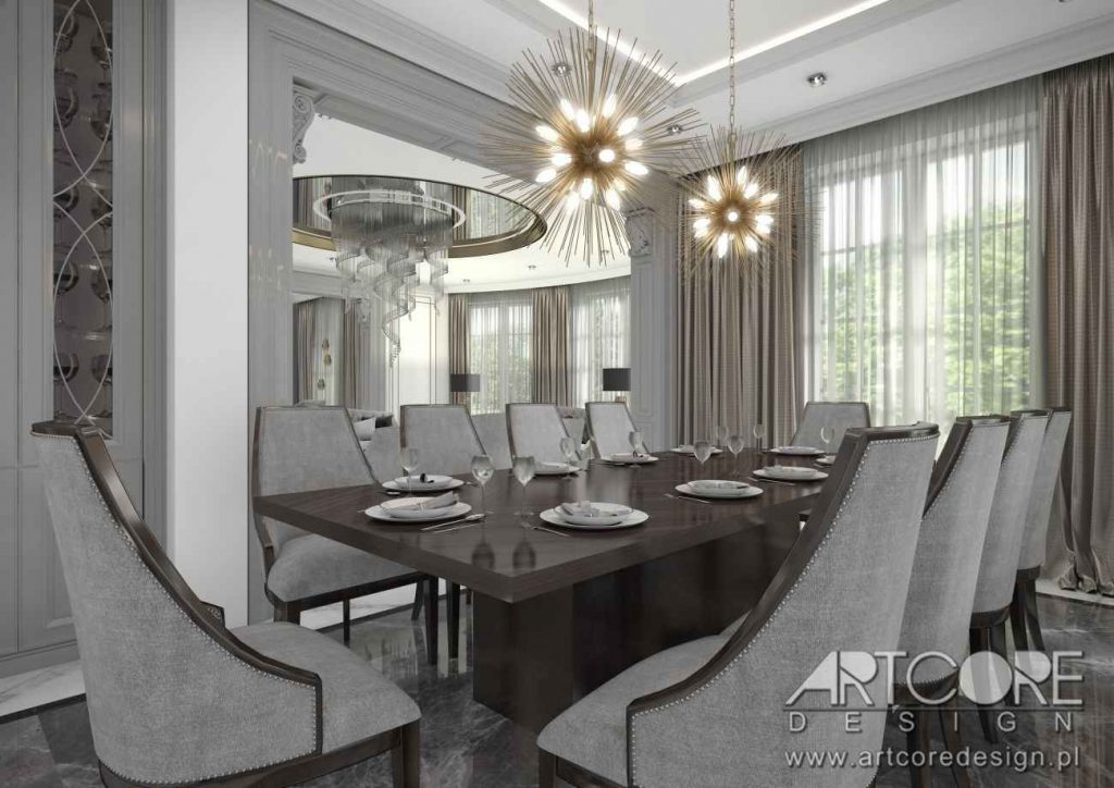 projektowanie wnętrz klasycznej jadalni art deco luksusowe wnętrza