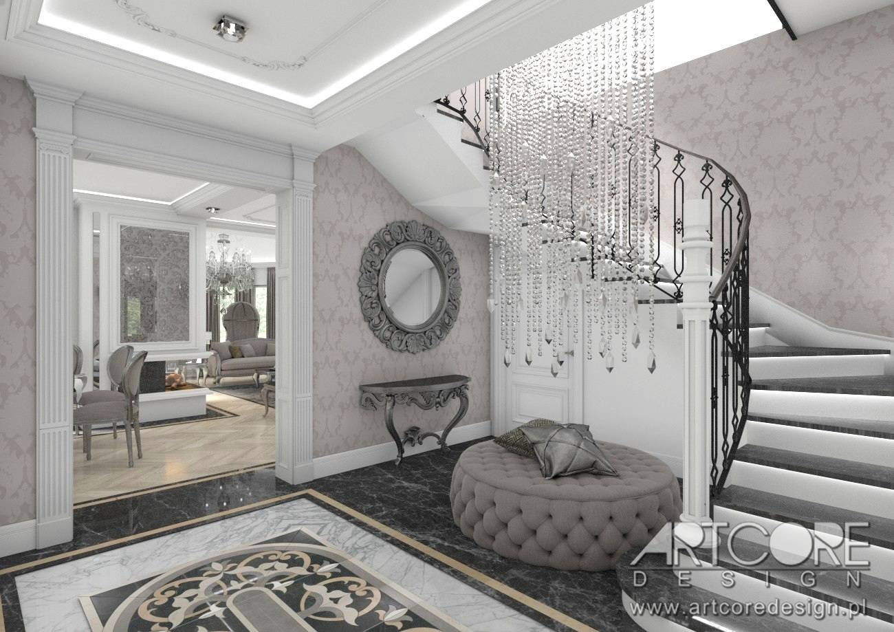 klasyczny hol korytarz styl pałacowy