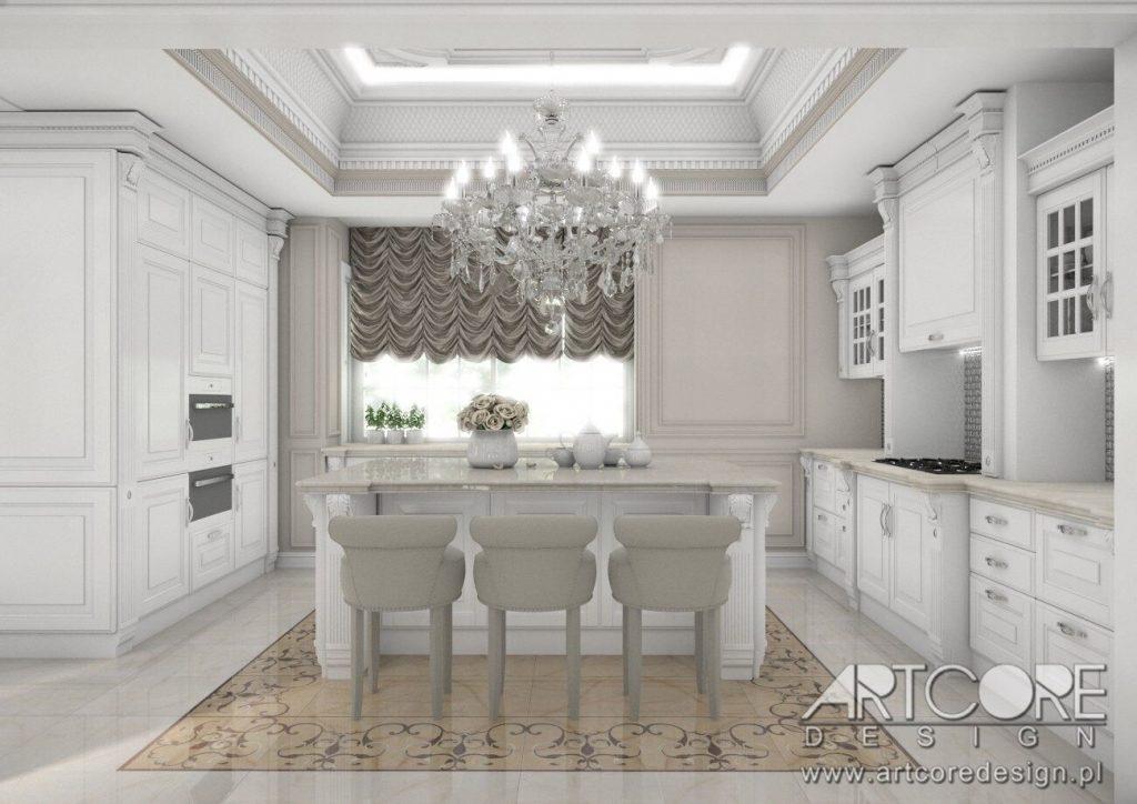 wnętrze kuchni ze sztukaterią
