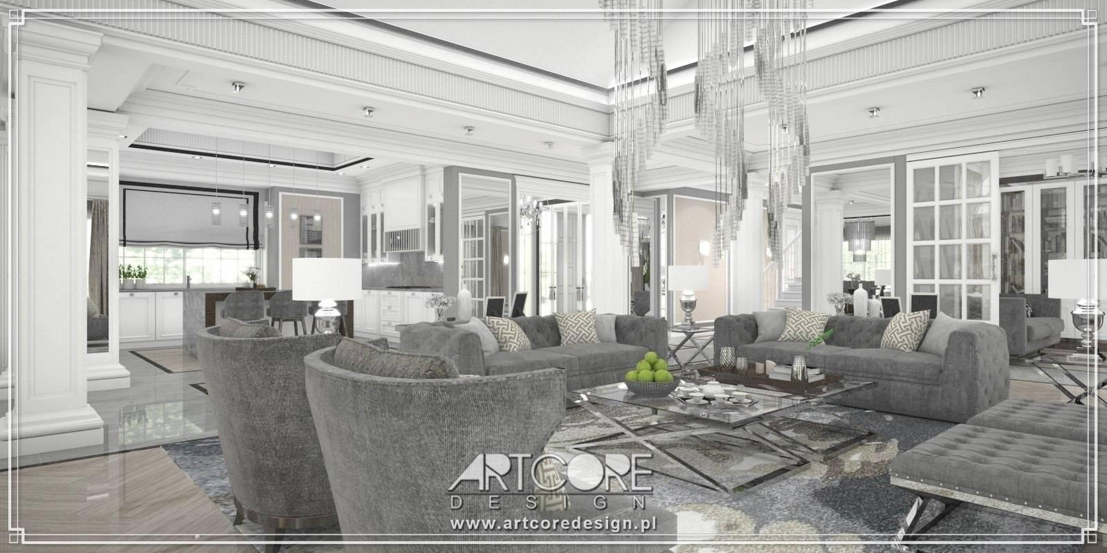 projektant wnętrz salon z jadalnią klasyczny glamour