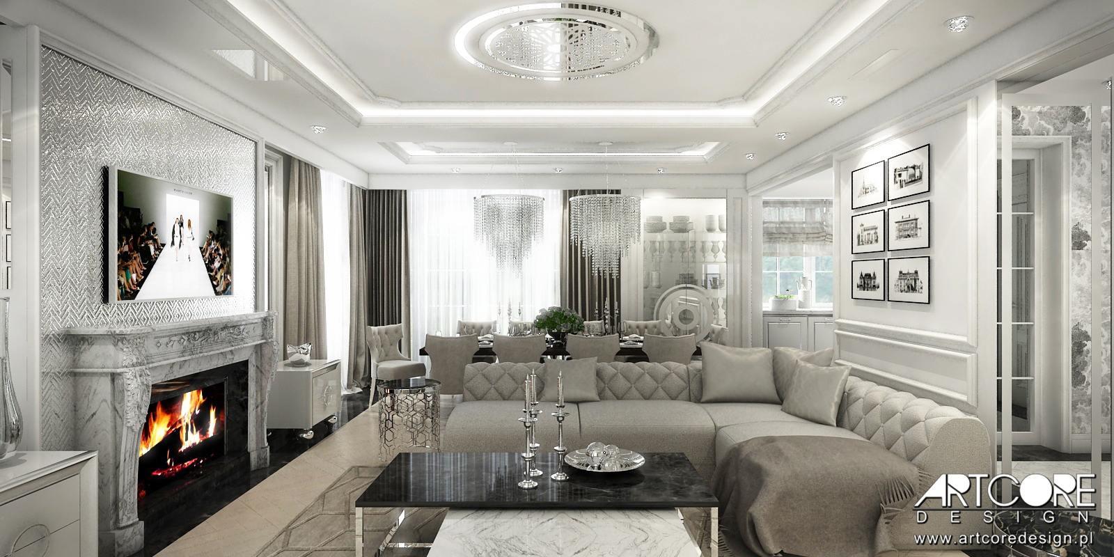 projektowanie wnętrz architekt wnętrz stylowy salon z kominkiem portalowym pikowana sofa glamour b