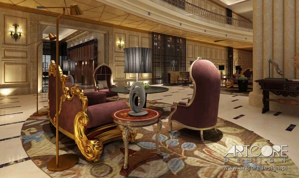 Nowoczesne wnętrze lobby hotelowego
