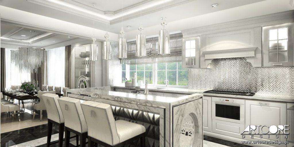 projekt wnętrza luksusowej kuchni glamour
