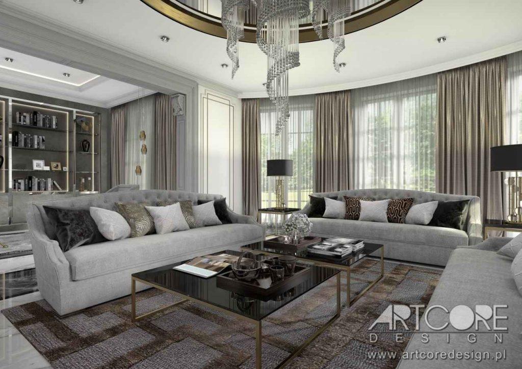projektowanie wnętrz luksusowej rezydencji art deco salon