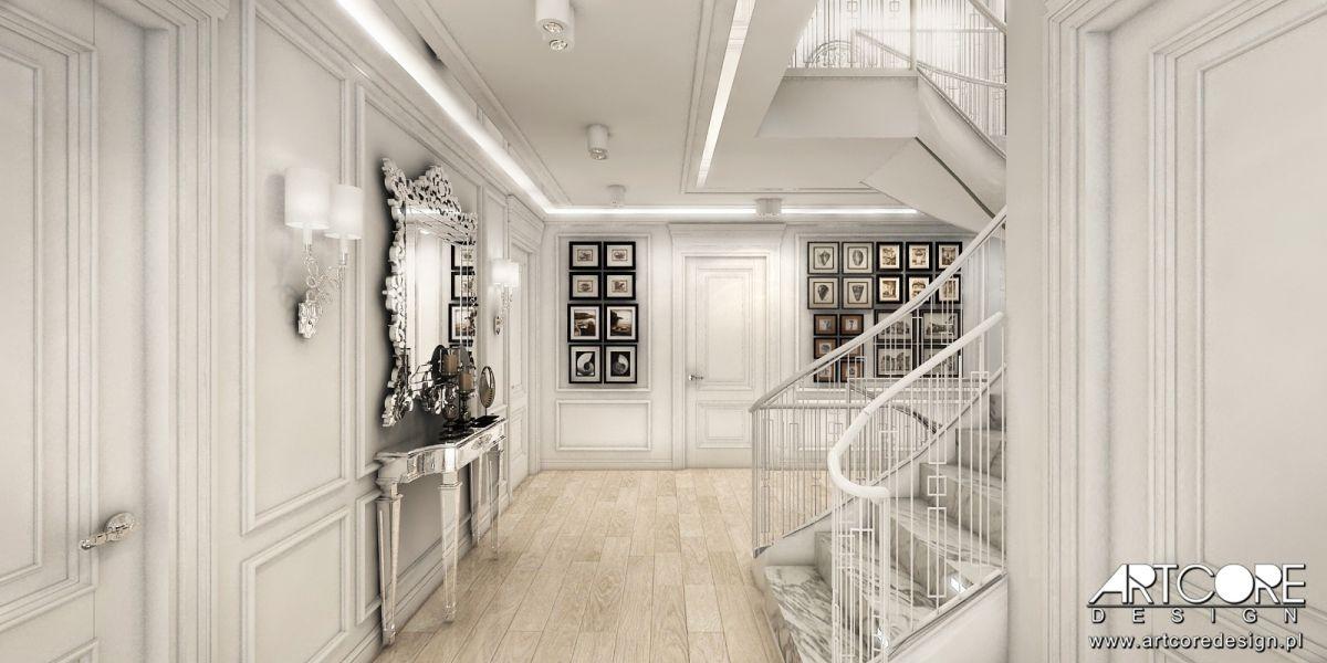 projekt wnętrza-luksusowego holu konsolka z lustrem