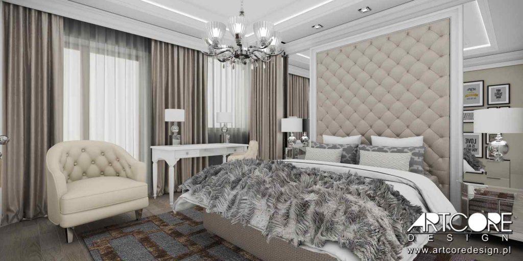 sypialnia w stylu amerykańskim projekt wnętrza