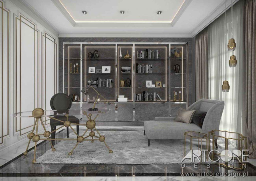 projekt wnętrza art deco luksusowego gabinetu z biblioteczka
