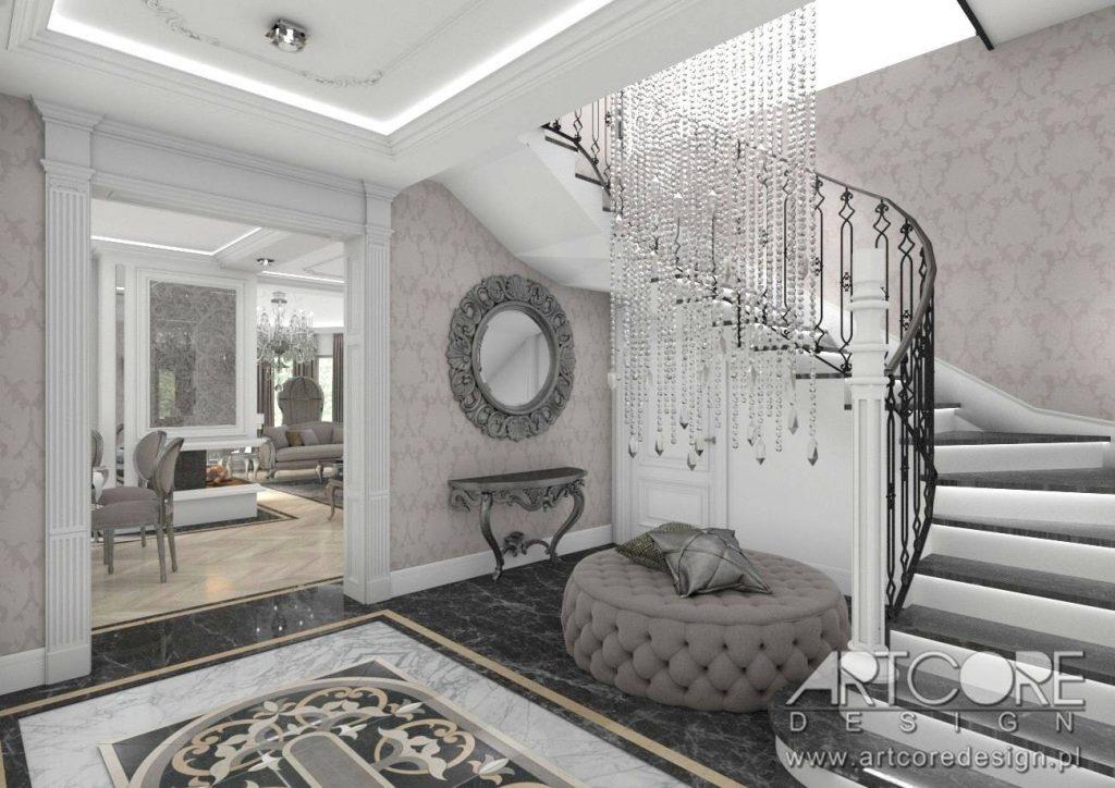 wnętrza klasyczne hol korytarz styl pałacowy architet projektant