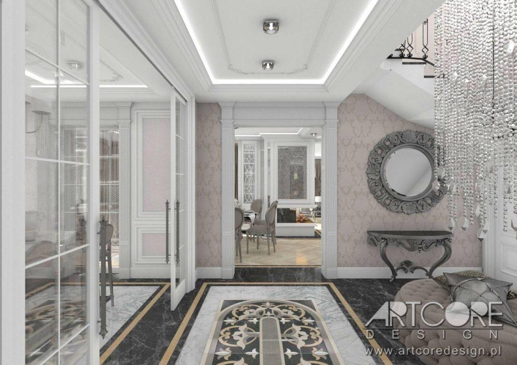 klasyczne wnętrza korytarz hol styl pałacowy projekt