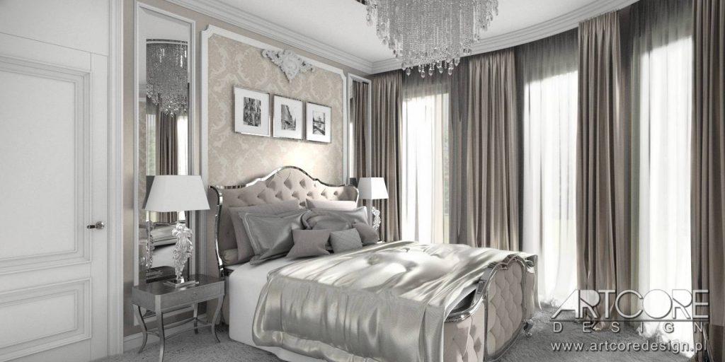 wnętrza klasyczne sypialnia styl pałacowy architekt