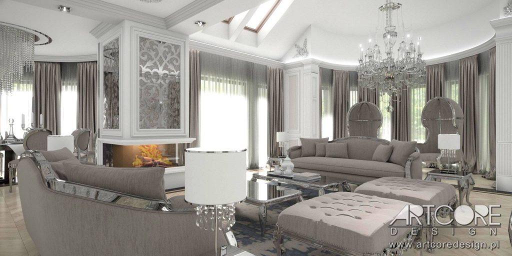 salon w stylu klasycznym pałacowym