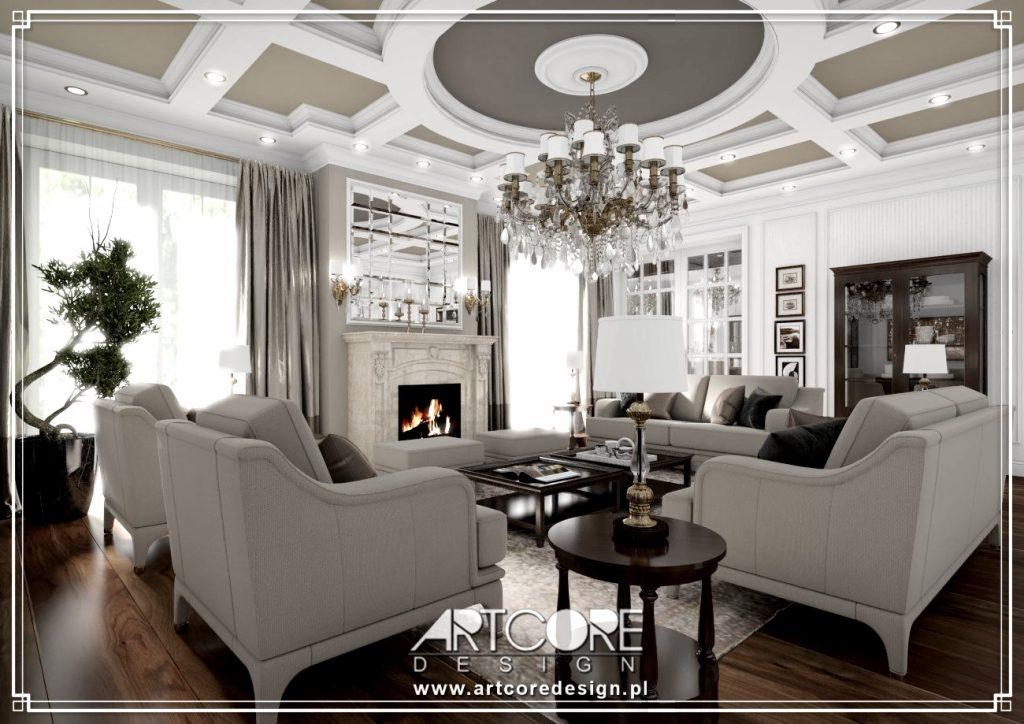 wnętrze luksusowego salonu w rezydencji w Łodzi