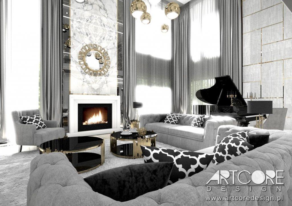 nowoczesna aranżacja salonu o luksusowym charakterze w krakowie