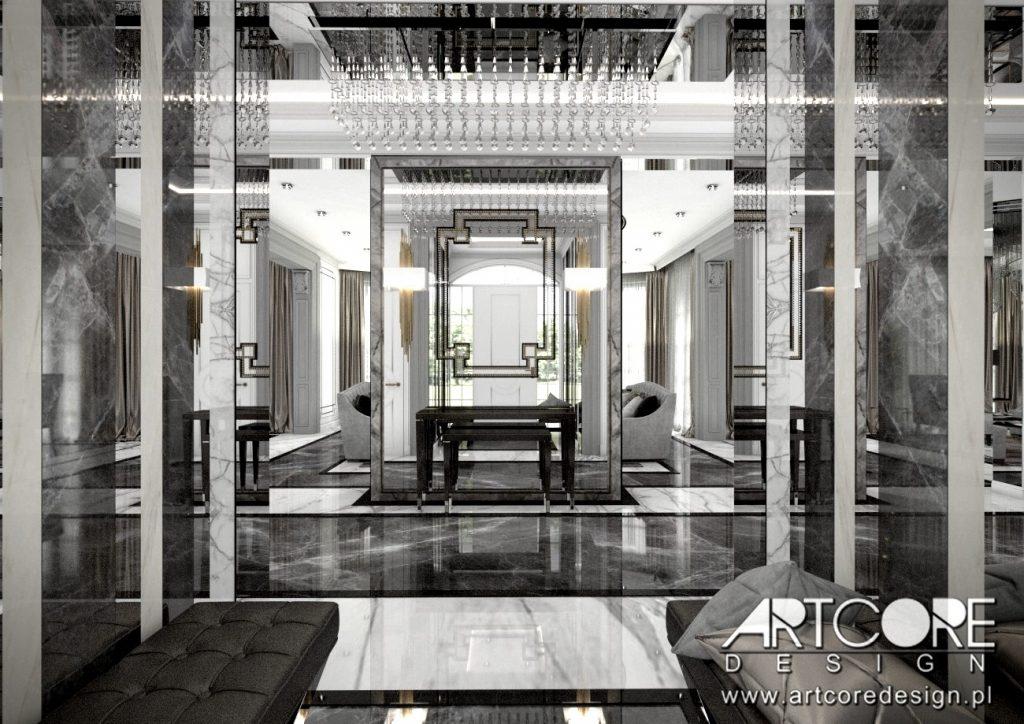 projekt wnętrza luksusowej rezydencji hol w Magdalence koło Warszawy