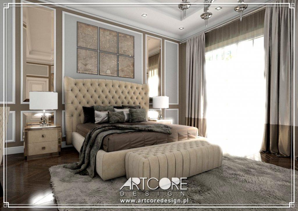 wnętrze rezydencjonalnej sypialni w luksusowym domu w Warszawie