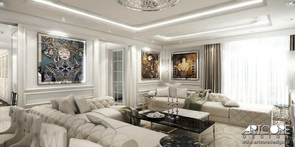 Wnętrze-salon-z-luksusowymi-pikowanymi-sofami-w-domu-w-Krakowie