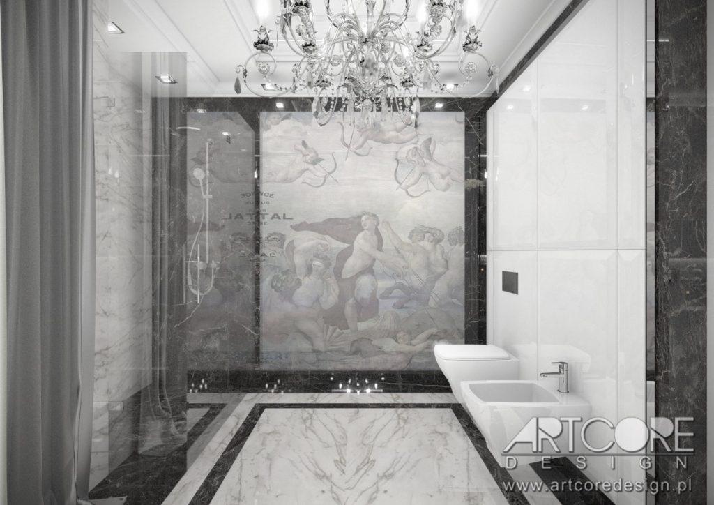 włoski styl wnętrz łazienka z grafiką