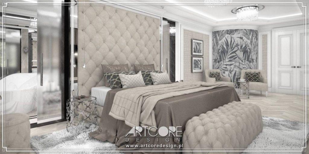 architekt wnętrz warszawa klasyczna sypialnia ze sztukaterią i tapicerowanym zagłówkiem