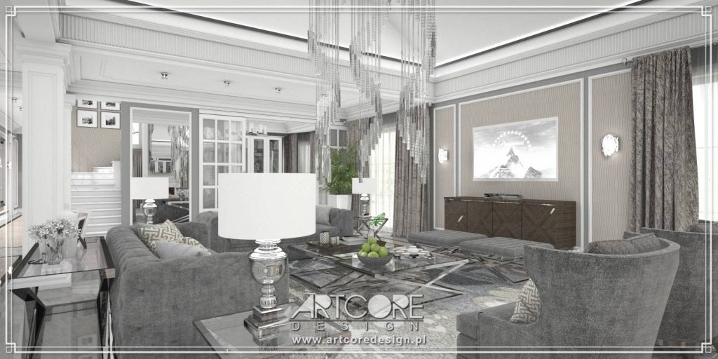 salon ze sztukaterią we wnętrzu klasycznym zaprojektowanym przez architekta wnętrz
