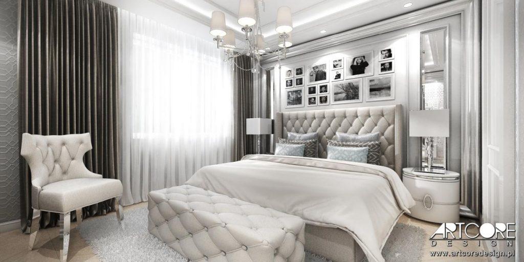 eleganckie wnetrze luksusowej sypialni