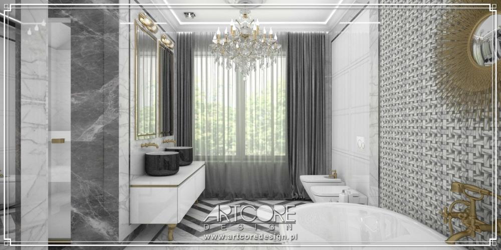 wnętrze łazienki glamour