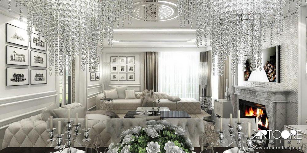 wnętrza glamour salon luksusowy z kryształowymi lampami