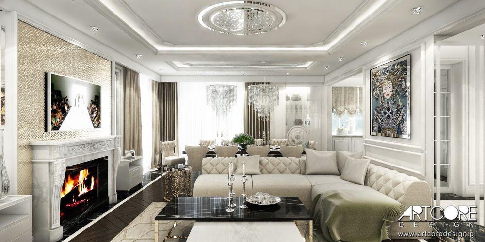 salon glamour luksusowe wnętrze z kominkiem warszawa kraków