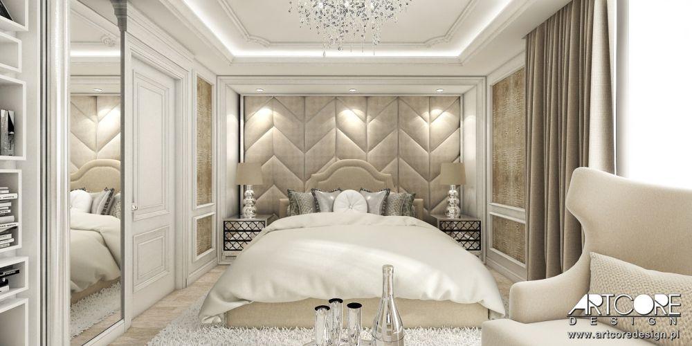 sypialnia glamour projektowanie wnętrz warszawa kraków