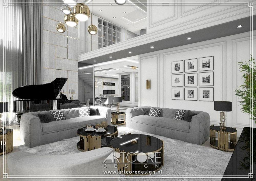 wnętrza glamour styl fortepian w salonie