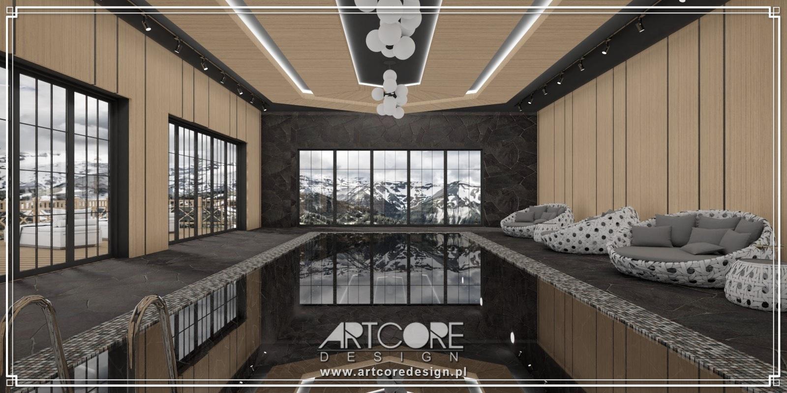 projekt wnętrza luksusowego basenu w górach