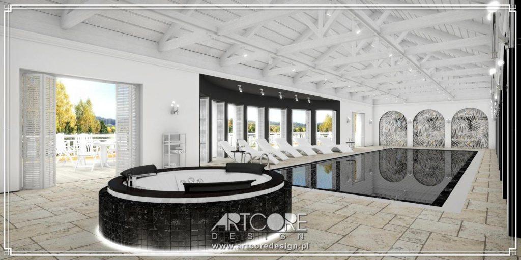 projekt wnętrza luksusowego basenu z jacuzzi