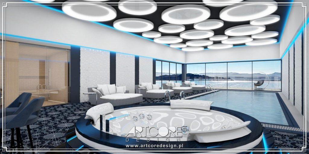 ekskluzywne wnętrze basenu z sauną architekt wnętrz
