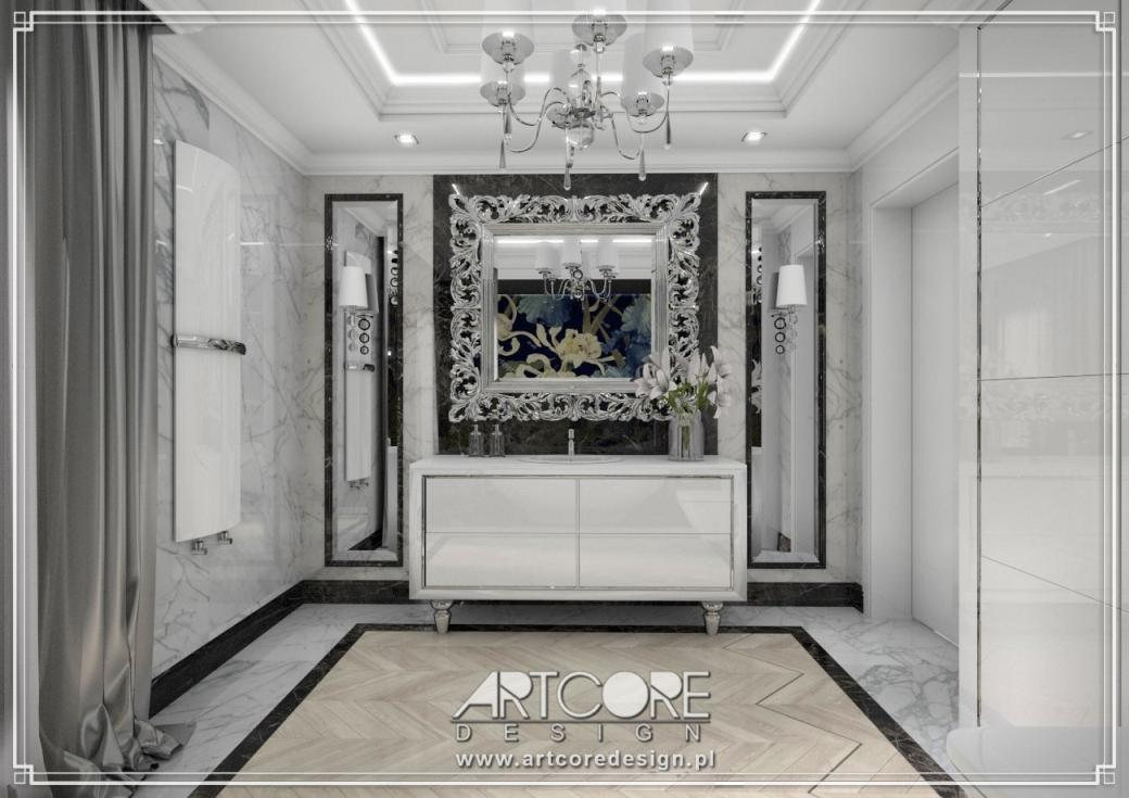 luksusowa łazienka czarno biała glamour projekt