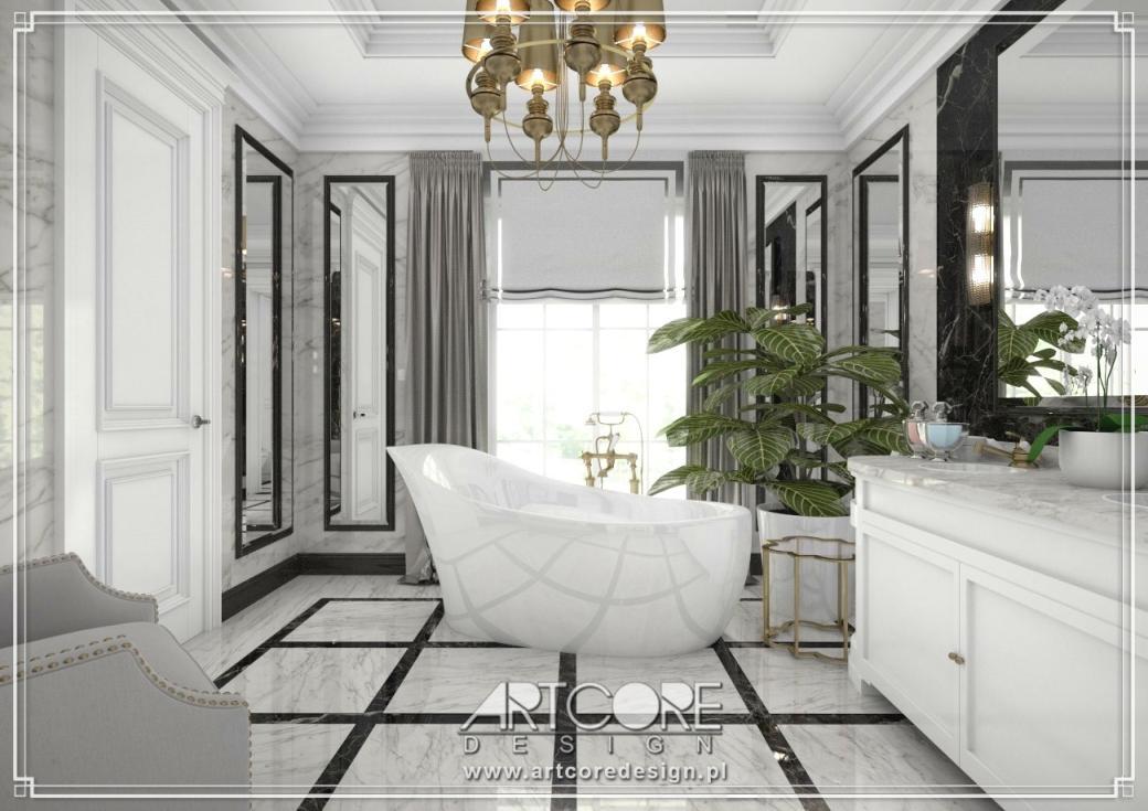 luksusowa łazienka z wanną wolnostojącą projekt wnętrza