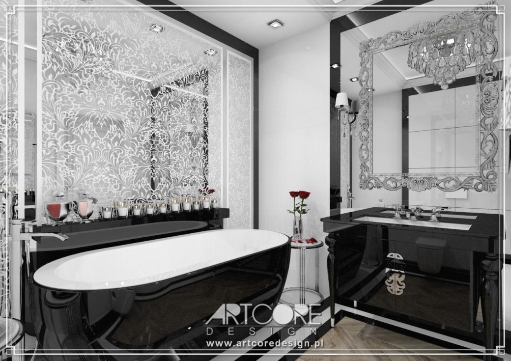 projekt luksusowa łazienka czarno białej łazienki glamour architekt wnętrz