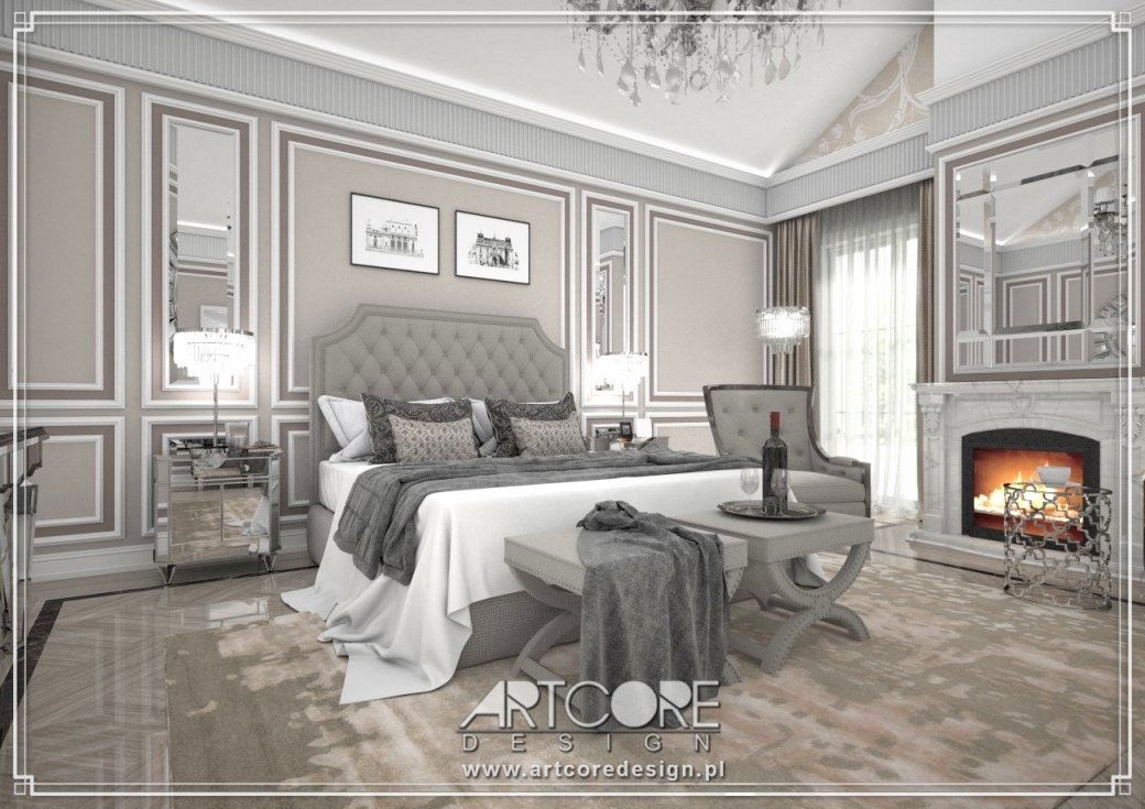 aranżacja sypialni glamour w warszawie