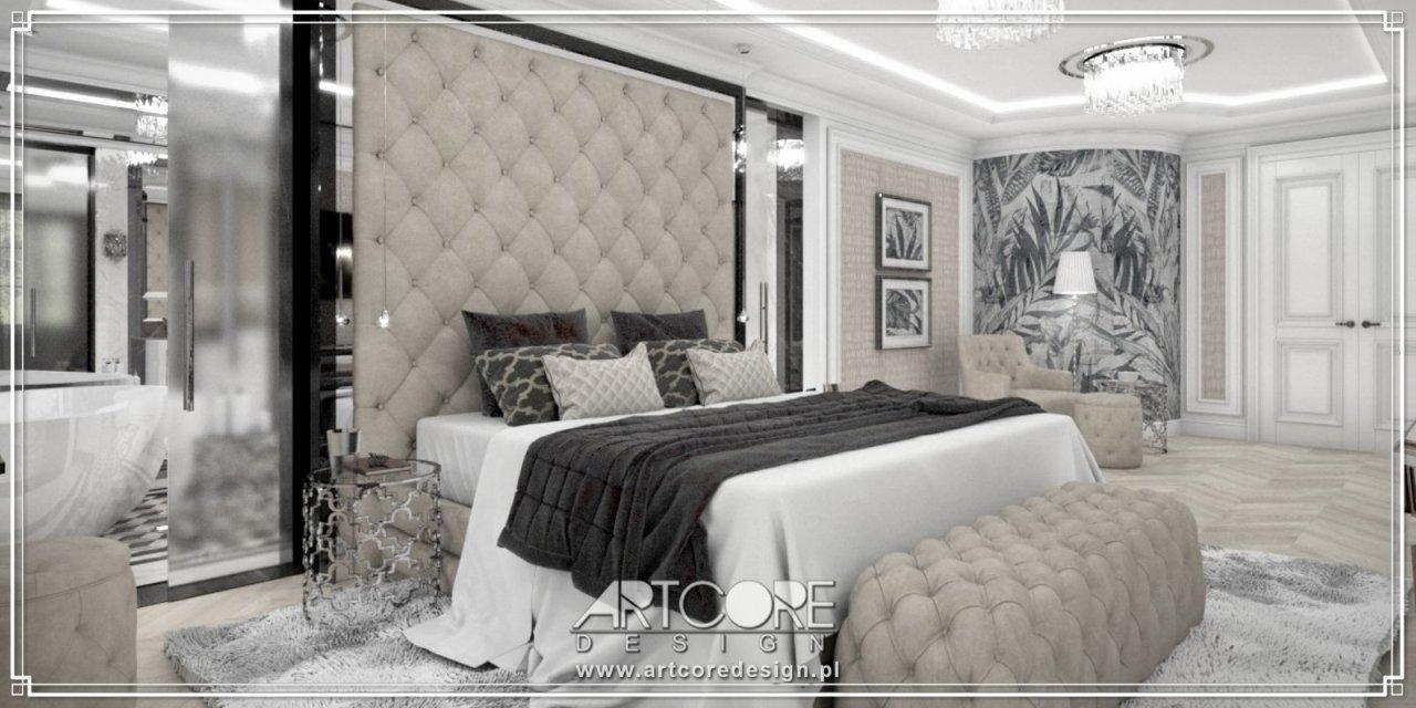 projekt sypialni glamour architekta wnetrz z krakowa