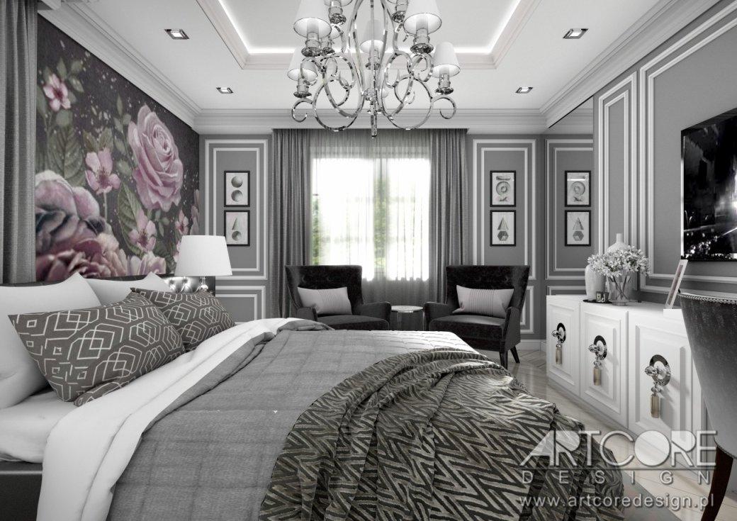 projekt wnętrza sypialni glamour