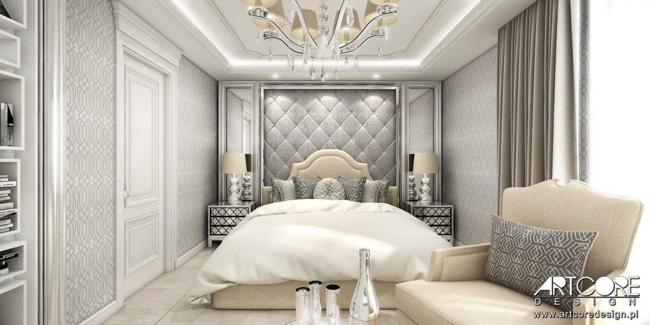 sypialnia glamour projekt wnętrza