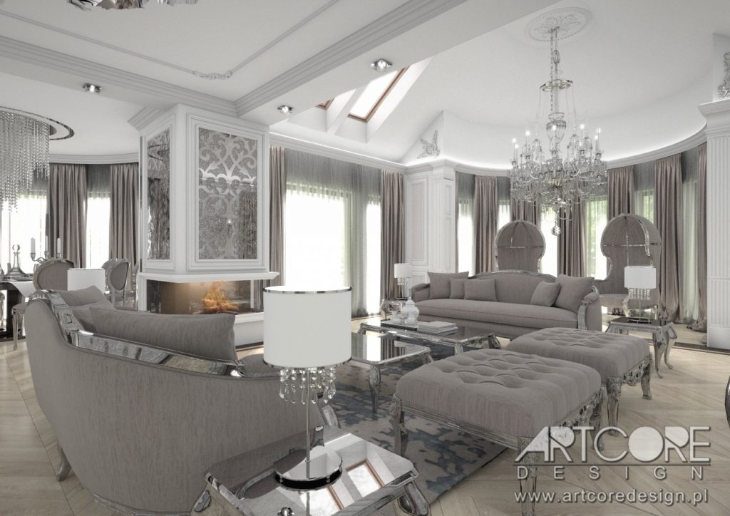 projekt wnętrza w szczecinie salon styl klasyczny