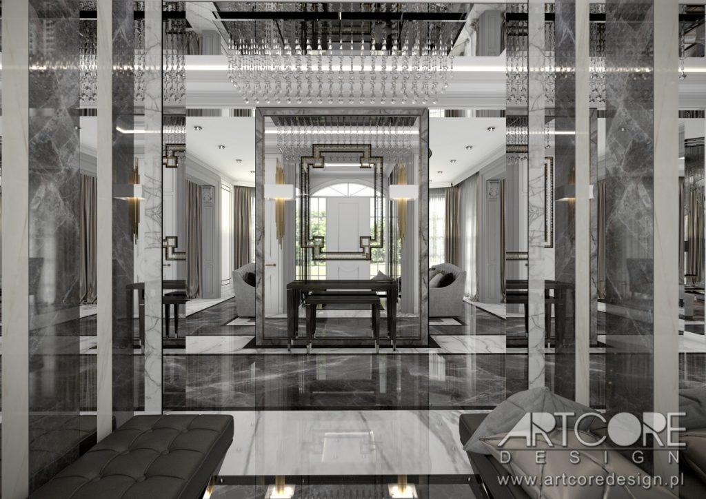 projektowanie wnętrz luksusowy hol dom kalisz