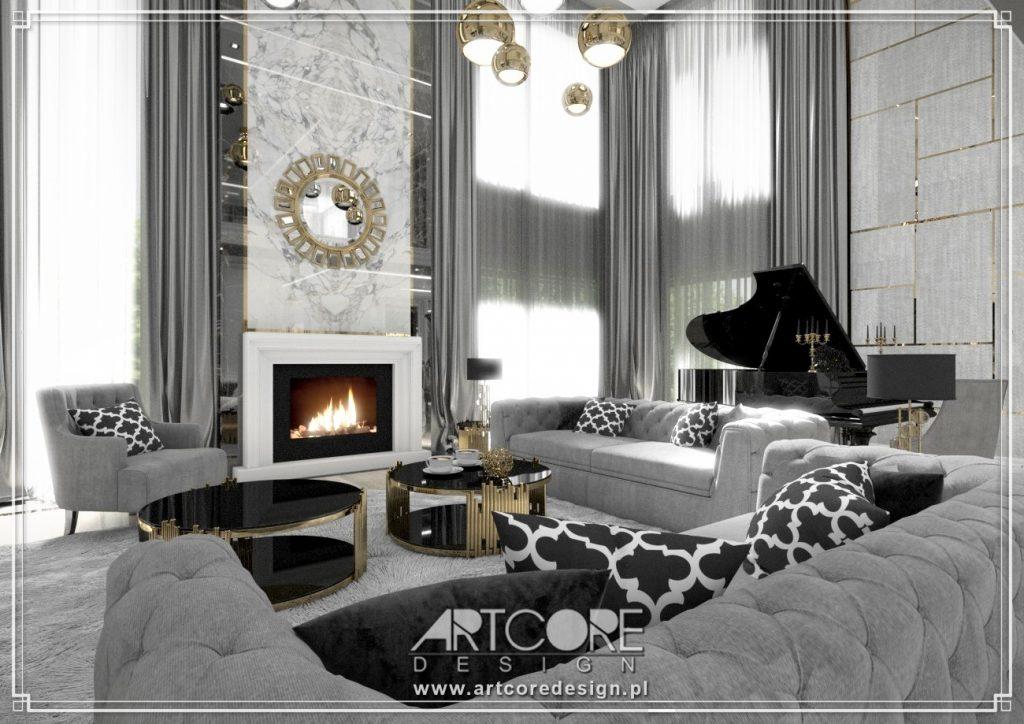 projektowanie wnętrz przemyśl luksusowy salon glamour z kominkiem