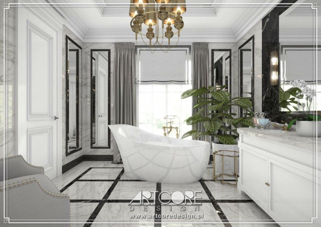 architekt wnętrz piotrków trybunalski marmurowa łazienka z wanną wolnostojącą