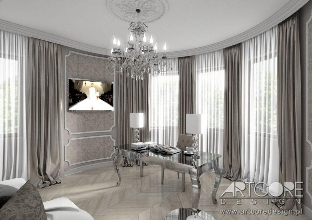 gabinet w stylu klasycznym angielski glamour