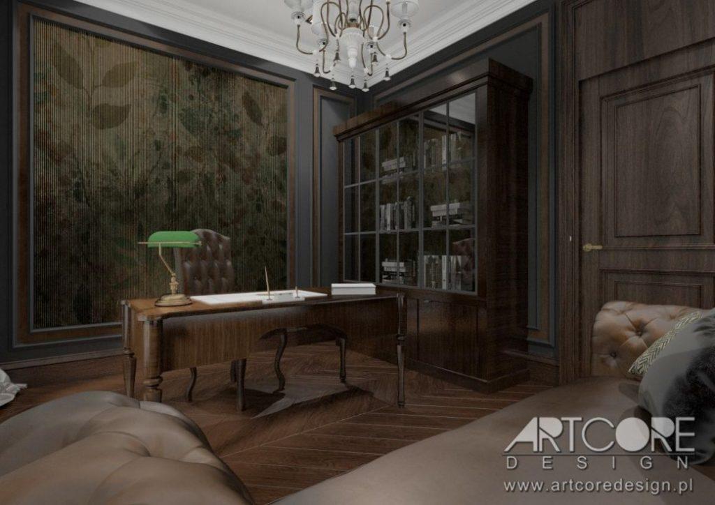 klasyczny angielski gabinet w domu projekt wnętrza