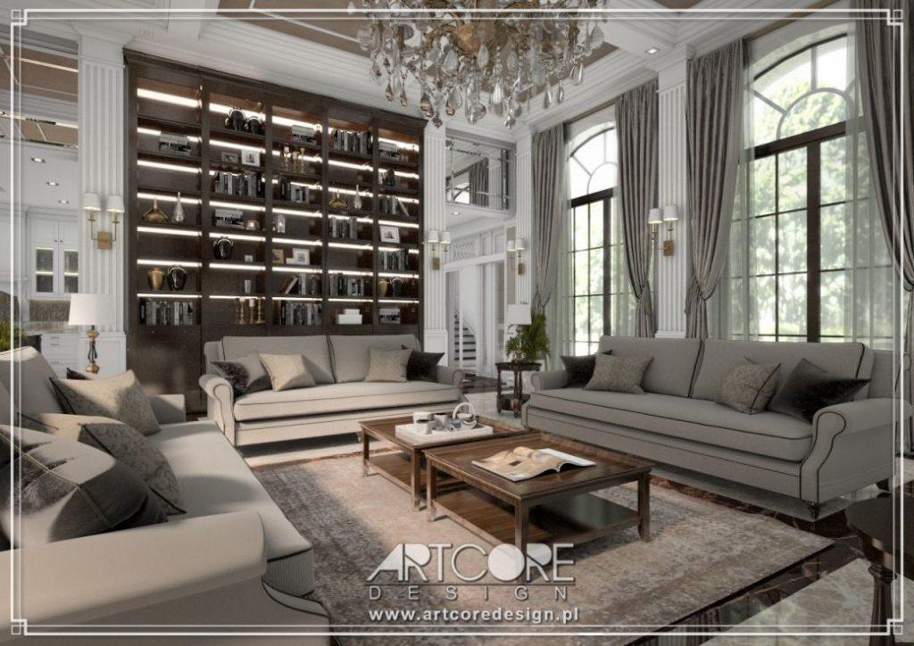 klasyczny salon z biblioteką projekt wnętrza
