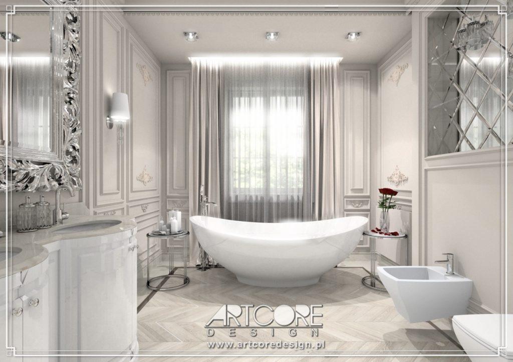 projektowanie wnętrz piotrków trybunalski łazienki glamour z wanną wolnostojącą